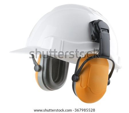 Hard hat and ear protectors - stock photo
