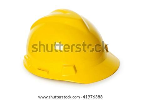 Hard hat isolated on the white background - stock photo