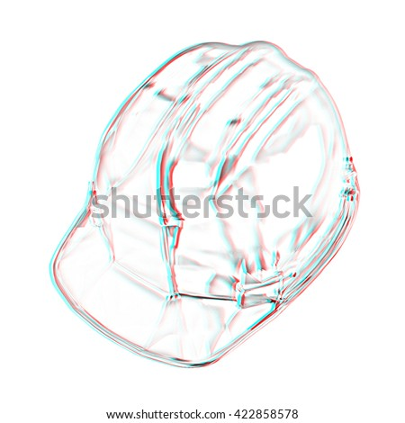 hard hat. Pencil drawing. 3D illustration. Anaglyph. View with red/cyan glasses to see in 3D.