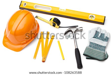 Hard hat, pencil, line, hammer, nails, gloves, tape measure, level, isolated on white - stock photo