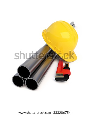 Hard Hat, Pipe Wrench and Pipes isolated on white - Construction Concept. Clipping path - stock photo