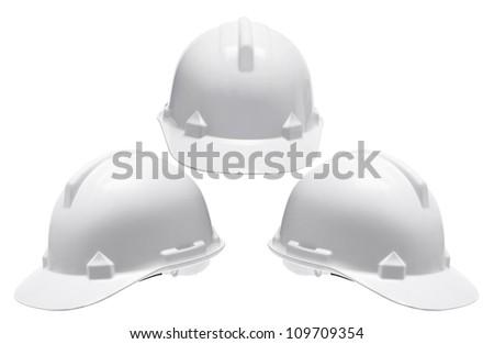Hard Hats on White Background - stock photo