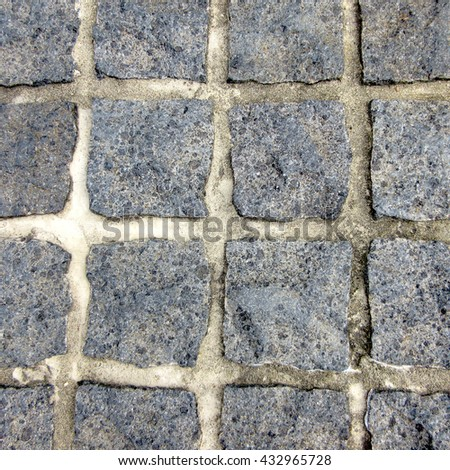 Hard Landscaping - Aerial View Bluestone Cobbles Paving - stock photo