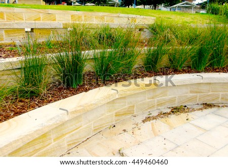 Hard Landscaping - Sandstone Terraces / Retaining Wall (Sydney, Australia) - stock photo
