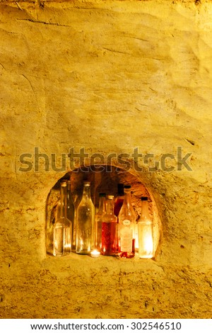 hard liquor archive in wine cellar, Czech Republic - stock photo
