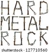 Hard metal rock  words is made from  rusted bolts and nuts. Isolated  alphabet concept part one - stock photo