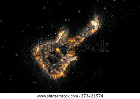 Hard rock heavy metal Electric Guitar on fire  - stock photo