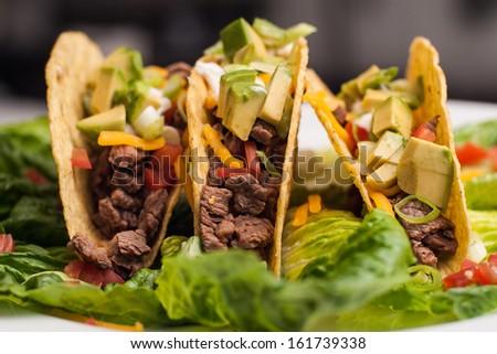 hard shell tacos - stock photo