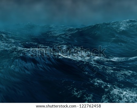 Hard storm in the sea - stock photo