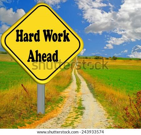 hard word ahead road sign - stock photo
