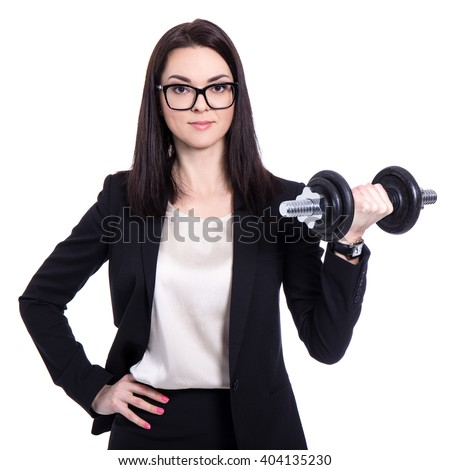 hard work concept - happy beautiful business woman with dumbbell isolated on white background - stock photo