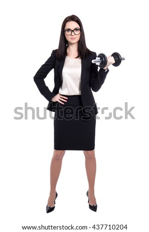 hard work concept - young beautiful business woman with dumbbell isolated on white background - stock photo