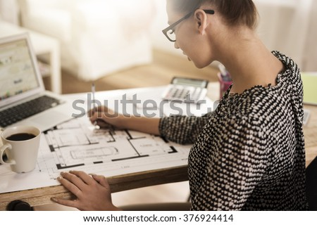 Hard work over a very important project - stock photo