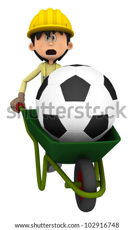 hard worker carring a ball - stock photo