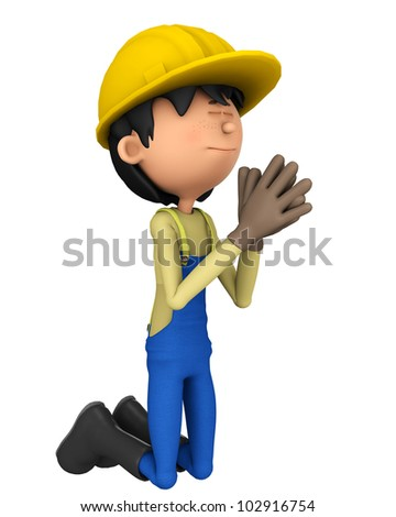 hard worker praying - stock photo