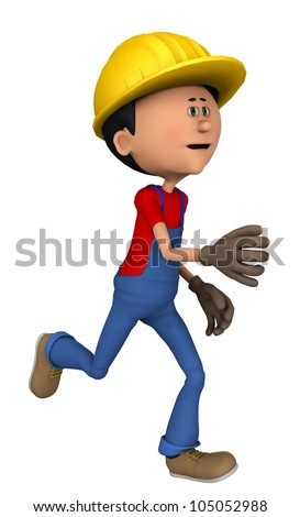hard worker running - stock photo