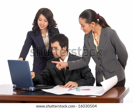 Hard working business team talk about their project - stock photo