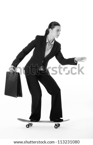 hard working business woman ready to move fast in the business world