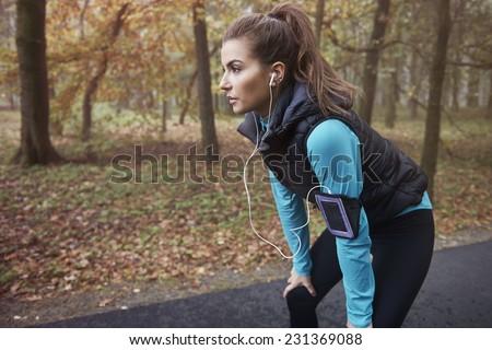 Hard workout in autumn season    - stock photo