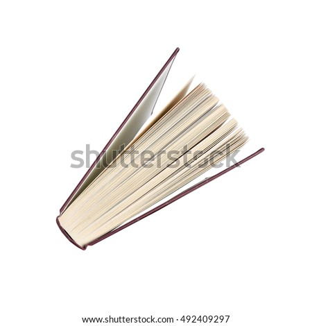 hardback book stood on end looking down from the top. Isolated on white background with clipping path