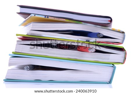Hardcover Books Bookmarked with Stationery On White Background.