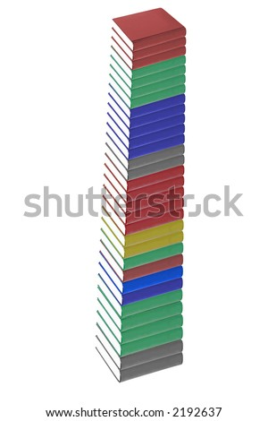 hardcover colorful books isolated on a white background
