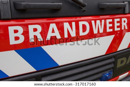 HARDENBERG, THE NETHERLANDS - AUGUST 15: Detail of the front of a dutch fire truck on August 15, 2015 in Hardenberg