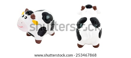 Hardened clay smile Cow  on White Background