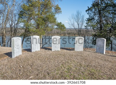 HARDIN COUNTY, TENNESSEE - Grave Markers on a bluff of the Tennessee River at Shiloh National Cemetery.