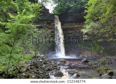 Hardraw Force waterfall, Yorkshire, England - stock photo