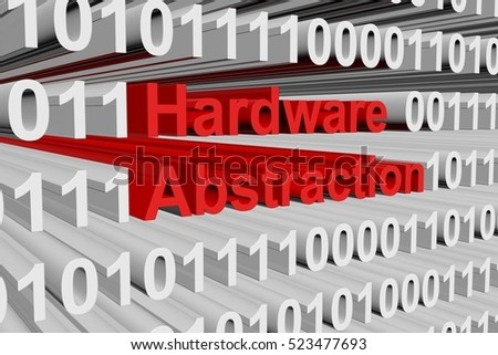 Hardware abstraction in the form of binary code, 3D illustration