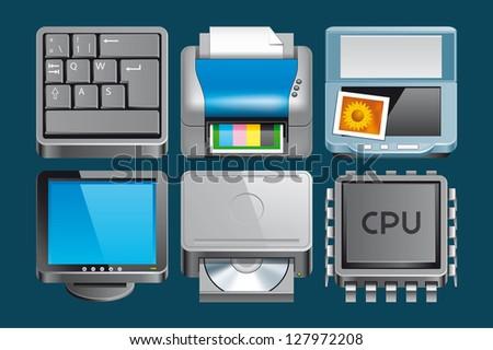 Hardware  icons - stock photo