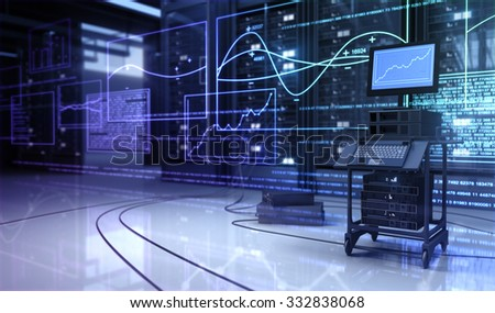 Hardware in the server room and Diagnostics. - stock photo