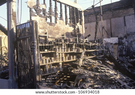 Hardware store burned out during 1992 riots, South Central Los Angeles, California - stock photo
