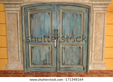 Hardwood door - stock photo