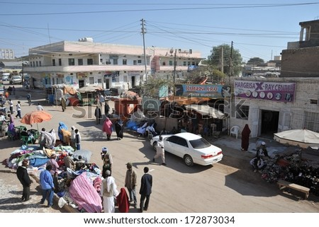 HARGEISA, SOMALIA - JANUARY 9, 2010:Hargeisa is a city in Somalia, the largest city and capital of the unrecognized state of Somaliland. Trading on a city street.