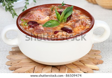 Harira is the traditional soup of Morocco. - stock photo