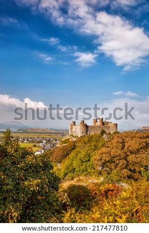 Harlech Castle in Wales, United Kingdom, series of Walesh castles - stock photo
