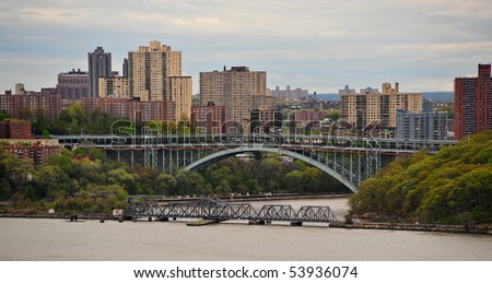 Harlem apartments and North New York city buildings - stock photo
