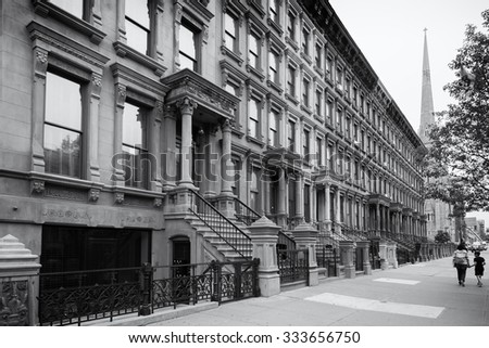 Harlem, new york city, in black and white - stock photo