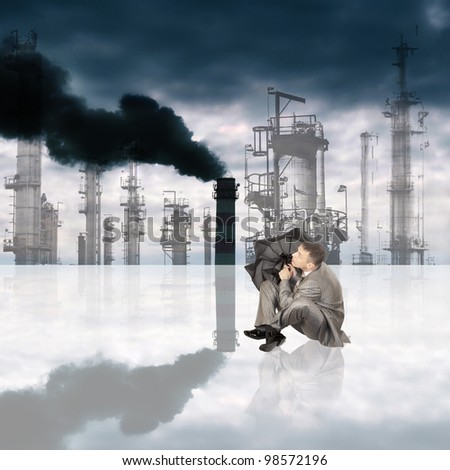 Harmful poisonous emissions from the industrial enterprises pollute environment and threaten with chemical rains