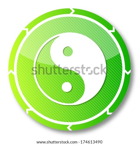 harmonicly eco button with a ying yang symbol on it and circular arrows isolated on white background