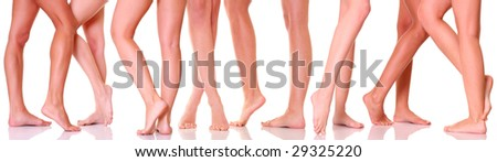 Harmonous legs of nine girls