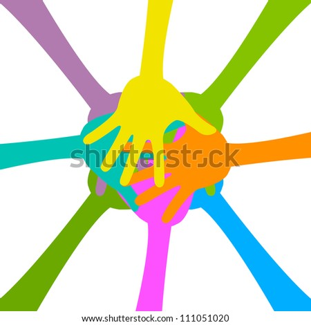 Harmony Concept Present With Colorful Hand Together Isolated On White Background - stock photo
