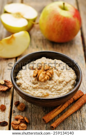 Haroset on a dark wood background, traditional food for the Pesach. tinting. selective focus - stock photo