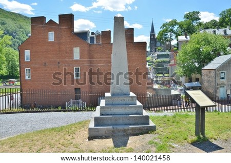 Harpers Ferry Town in WV, USA. and John Brown's Memorial - stock photo