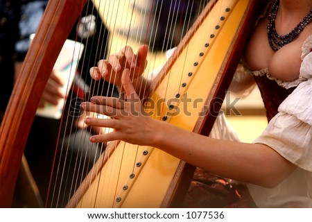 Harpist entertaining - stock photo