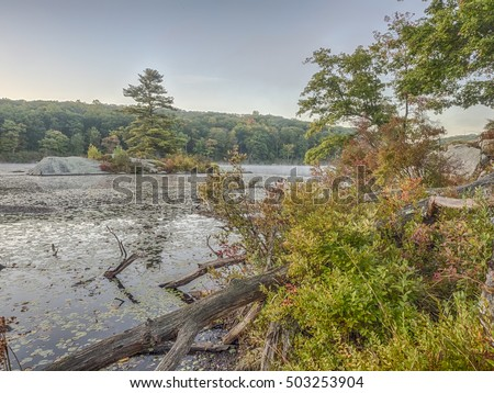 Harriman State Park, New York State in autumn by lake beauty in nature