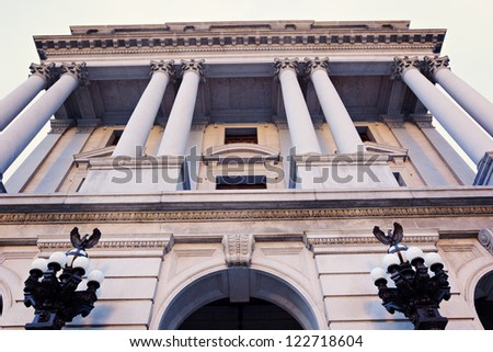 Harrisburg, Pennsylvania, USA -  State Capitol Building at sunset - stock photo