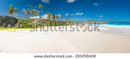 Harrismith Beach is one of the most beautiful beaches on the Caribbean island of Barbados. It is a tropical paradise with palms hanging over turquoise sea and a ruin of an old mansion on the cliff.  - stock photo